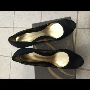 Enzo Angiolini black satin peep toe pumps
